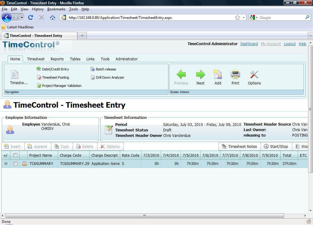 TimeControl Timesheet in FireFox