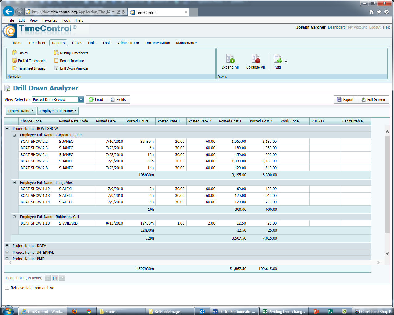 TimeControl 6.6 Timesheet